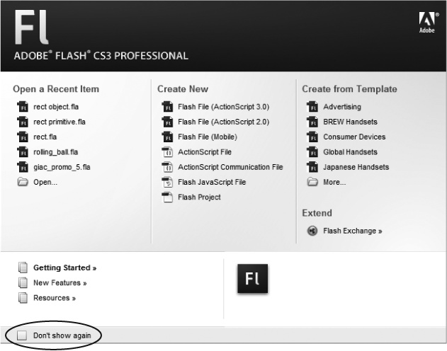 "This welcome screen appears the first time you launch Flash—and every subsequent time too, unless you turn on the ""Don't show again"" checkbox (circled). If you ever miss the convenience of seeing all your recent Flash documents, built-in templates, and other options in one place, you can turn it back on by choosing Edit →Preferences (Windows) or Flash → Preferences (Mac). On the General panel, choose Welcome Screen from the On Launch pop-up menu."