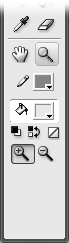 On the Tools panel, when you click each tool, the Options section shows you buttons that let you modify that particular tool. In the Tools panel's View section, for example, when you click the Zoom tool, the Options section changes to show you only zooming options: Enlarge (with the plus sign) and Reduce (with the minus sign).