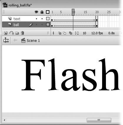 You select a frame (specify a playhead position) the same way you select everything else in Flash: by clicking. In this example, the currently selected frame (playhead position) is the tenth frame. You can watch the playhead move from frame to frame by selecting Control → Play. Dragging the playhead back and forth (called scrubbing) is an even quicker way to test portions of your animation–and a fun way, too: dragging the playhead from right to left displays your frames in reverse order.
