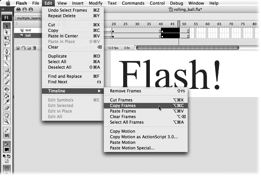 To select multiple frames, click the first frame of the series you want to select; then Shift-click the last frame. Flash automatically selects all the frames in between. If you know you're going to be copying and pasting frames in the same document, you can speed up the process by pressing the Alt key (Windows) or the Option key (Mac) while you drag a copy of the selected frames from their original location to where you like on the Timeline.