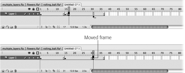 Top: Click the frame you want to move and then let go of your mouse. Drag the frame you just selected. If Flash displays a gray selection-sized box above your cursor, you're gold: Drag to the point in the Timeline where you want to insert the moved frame (here, Frame 30) and then drop it. (If you don't see a gray box, you need to start the process over.)Bottom: Here, you can tell the move succeeded because the keyframe and end frame indicators have disappeared from their original locations (Frames 16 and 17) and reappeared in their new locations (Frames 29 and 30).