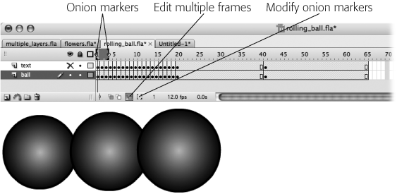 When you click Edit Multiple Frames, Flash shows the content of a bunch of frames on a single Stage. Unfortunately, Flash might miss a frame or two. To tell Flash to show the content of all your frames, click the Modify Onion Markers icon and then, from the pop-up menu that appears, select Onion All. (You can also drag the onion markers separately to enclose a different subset of frames.)