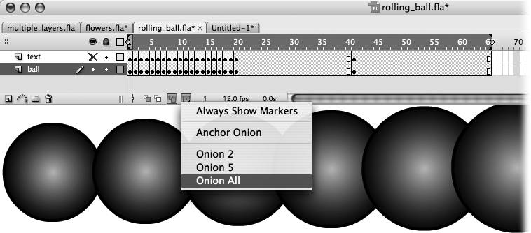 Here you see the result of selecting Onion All. The onion markers surround the entire frame span (Frame 1 through Frame 4) and all four images appear on the same Stage, ready for you to edit en masse.