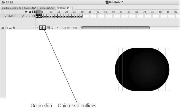 If you need to differentiate between the content in the selected frame and the content in the other frames, click Edit Multiple Frames and then click Onion Skin Outlines. All the non-selected frames appear in outline form, as shown here. (Clicking Onion Skin shows the content of non-selected frames in semi-transparent form). With onion skinning turned on, you can see multiple frames, but you can edit only the content of the selected frame. Click Edit Multiple Frames to return to multiple-frame editing mode.