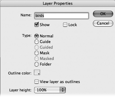 When you open the Layer Properties box you've got all the layer settings in one place. You can change the layer name, show, hide, or lock your layer and much more.