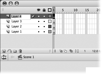 If you can't remember what a particular layer contains, check the Stage: When you double-click a layer name to rename it, Flash automatically highlights the content associated with that layer.