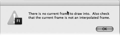 If you try to draw on the Stage when you've selected a folder instead of a layer, Flash lets you know in no uncertain terms. (An interpolated frame is a tweened frame; as you learn in , you can't place images in a tweened frame, either.)
