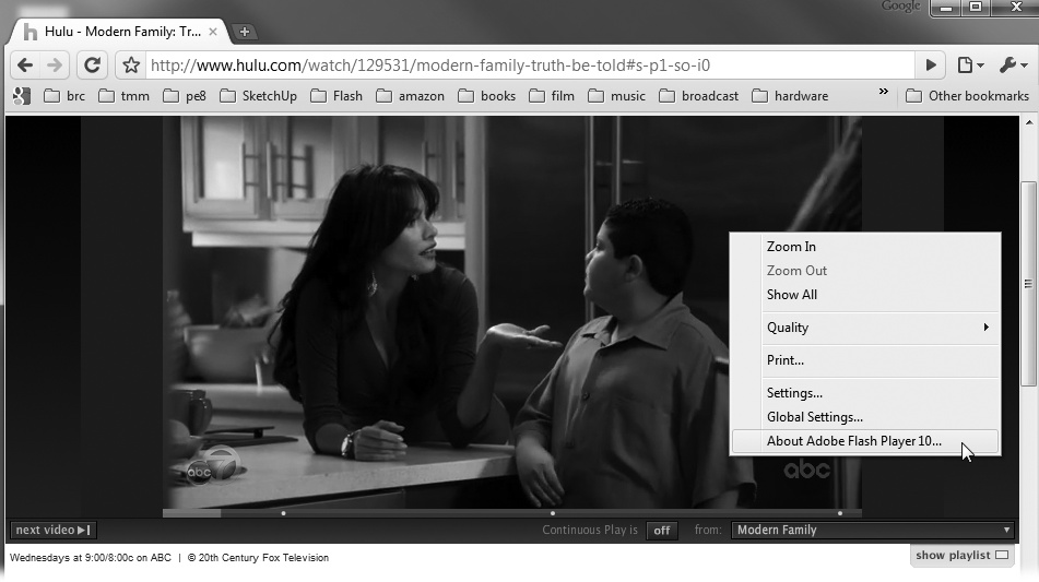 "Sites like Hulu and YouTube have made great use of Flash's video abilities. You can check any site to see whether it's using Flash behind the scenes. Just right-click (or Control-click) an image that you think might be Flash. If it says ""About Flash Player"" at the bottom of the pop-up menu, you guessed right."
