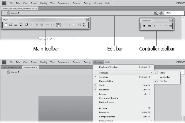 Top: To conserve space on Flash's jam-packed desktop, only one toolbar—the Edit bar—appears automatically. It's positioned directly above the stage. To display the other two, select Window→Toolbars→Main (to display the Main toolbar, Windows only) and Window→Toolbars→Controller (to display the Controller window).Bottom: The checkmarks on the menu show when a toolbar is turned on. Choose the toolbar's name again to remove the checkmark and hide the toolbar.