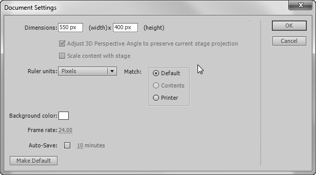 "The Document Settings dialog box puts several related settings in one place. At the top are the document's dimensions. In the lower-left corner are settings for the stage's background color and the frame rate. Click ""Ruler units"" to choose among Inches, Points, Centimeters, Millimeters, and Pixels."