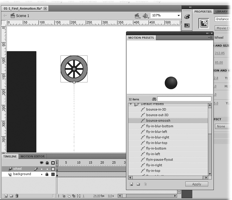 "The Motion Presets window has two folders. The one called Default Presets (shown open here) holds presets designed by Adobe. The other folder holds presets that you design and save. The ""tail"" hanging down from the wheel is the motion path."