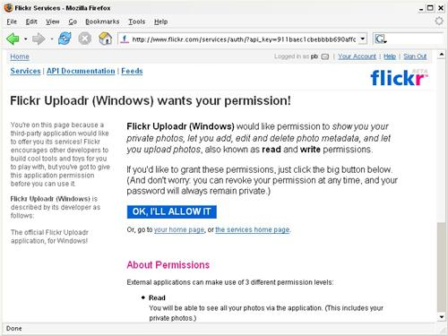 The Flickr permissions page