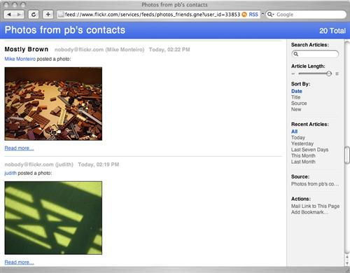 Viewing contacts' photos via RSS