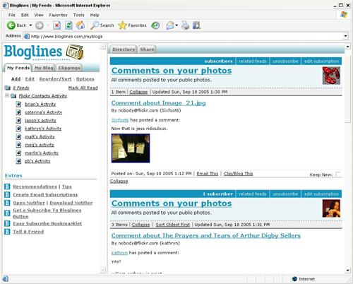 Watching contacts' activity at Bloglines