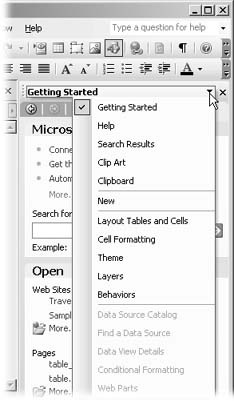 To see all the available task panes, click the down arrow on the right side of the task pane heading. The menu of available task panes displays. Choices within each of these task panes are usually shortcuts to various menu commands. Many panes include visual aids that can help you do things like preview a graphic or help you organize page elements.
