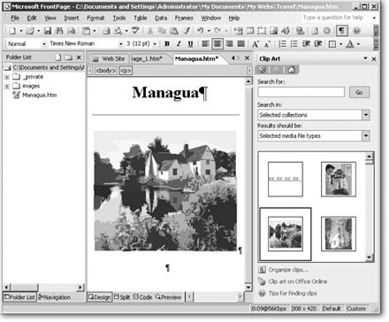Now that you have a couple of pages, the editing window includes more options. At the top of the document window, click the tabs to switch between open pages. An asterisk next to a page name indicates that the page contains unsaved material. (You'll learn how to save in a moment.) At left, within the folder list, your new page (Managua.htm, in this example) appears.