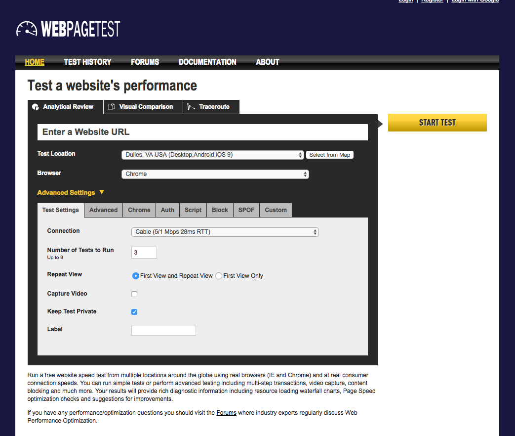 The WebPageTest homepage