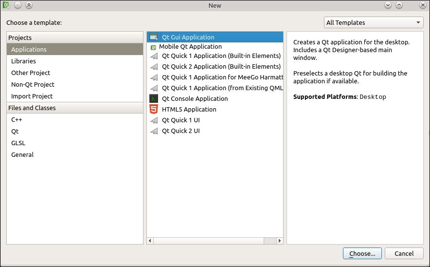 Time for action – creating a Qt Desktop project