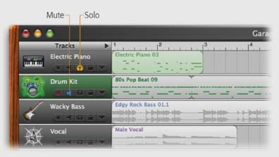 You can tackle the on/off status of your tracks in two ways: either by specifying which ones don't play (by turning on their Mute buttons), or by specifying which tracks are the only ones that play (by turning on their Solo buttons).