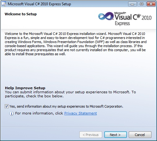 Visual Studio C# Express Installer Setup Screen