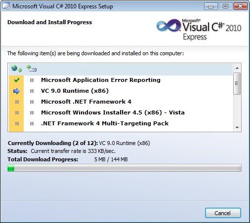 Visual Studio C# Express Installer Download and Install