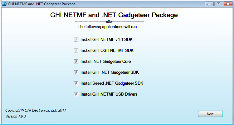 NET Gadgeteer Installer