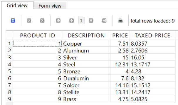 Using expressions to calculate a TAXED_PRICE column