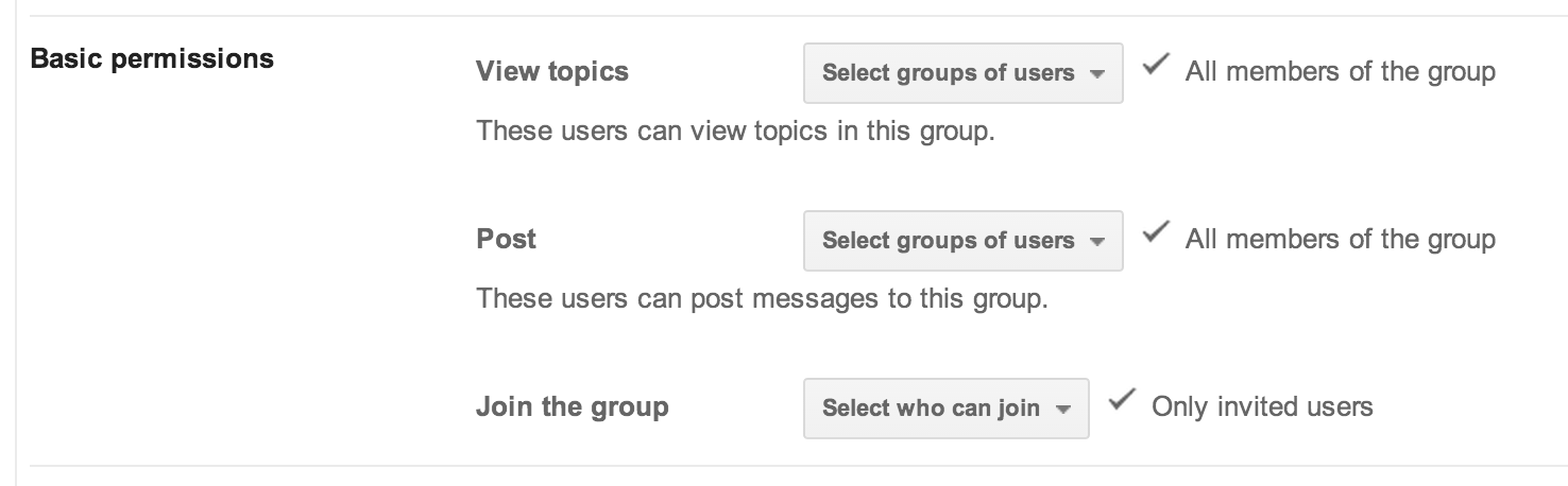 Example Google Group Settings