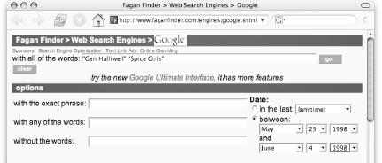 The FaganFinder Google interface with Gregorian-based date range searching