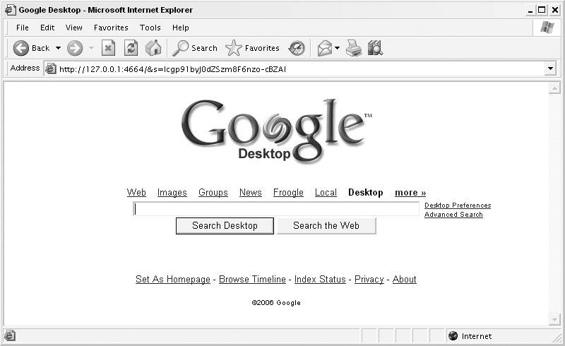 The Google Desktop home page