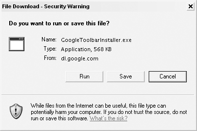 Internet Explorer security warning for the Google Toolbar