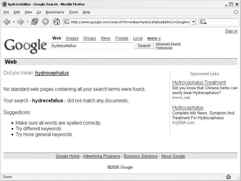 Hack #4. Check Your Spelling - Google Hacks, 3rd Edition