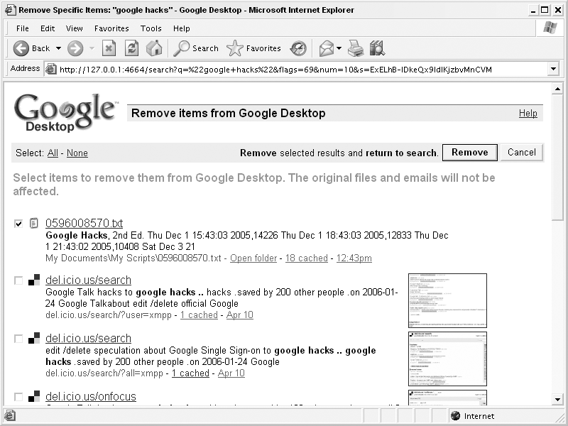 Removing items from your Google Desktop index