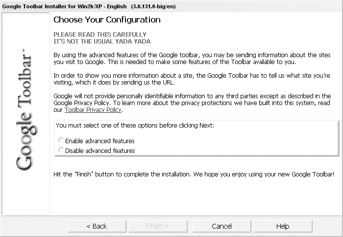 Internet Explorer privacy warning from the Google Toolbar installation