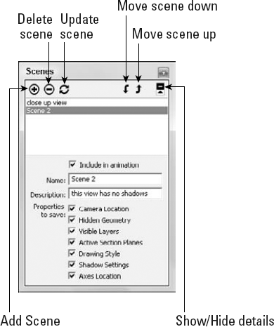 The Scenes dialog box lets you create and manage defined scenes.