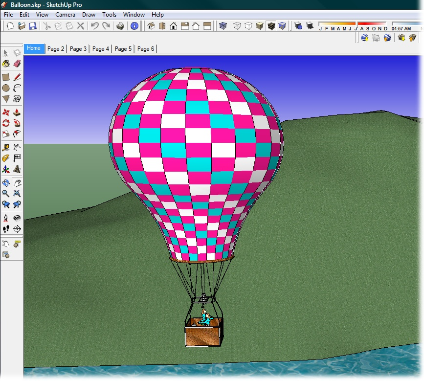 SketchUp may be a favorite of architects and builders, but all sorts of people use it to design models of just about anything you can imagine. This hot-air balloon is one of the thousands of models found at the Google 3D Warehouse, a website where SketchUp artists share their models.