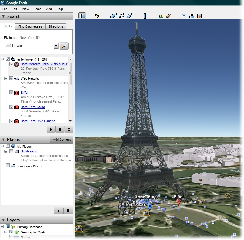 SketchUp drawings can be quick and simple or extremely detailed. This model of the Eiffel Tower is actually a fairly simple model with an image applied to give it detail. This image is from Google Earth, and you can find the model in the Google 3D Warehouse.