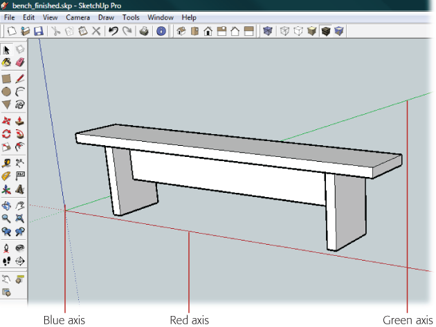 The Steps In This Chapter Describe How To Build This Simple Bench In  SketchUp. Three
