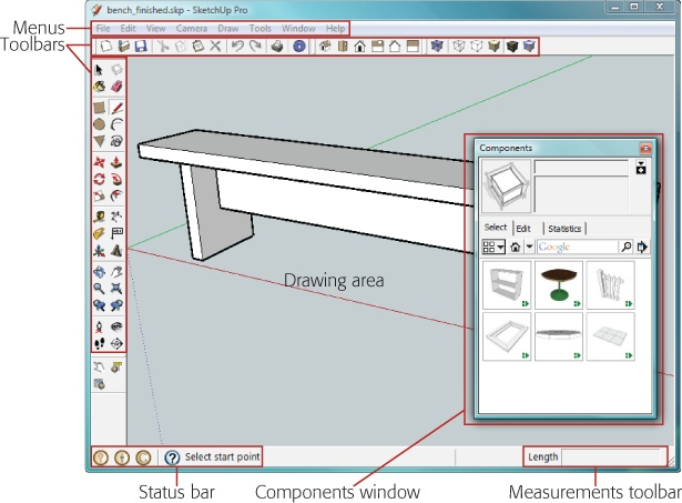 1 Building A Bench Your First Sketchup Model Google