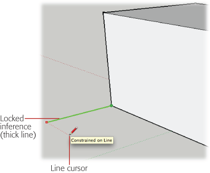 Inferences first appear as thin lines. Press Shift, and the inference changes to a thick line. With the inference locked, you're free to move your cursor anywhere in the drawing, making it easy to grab a measurement from another reference point.