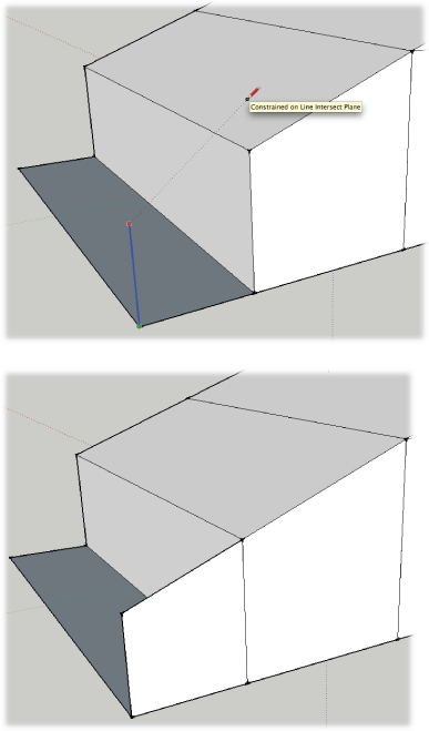 Top: To create a vertical line that's exactly the right height to continue the roofline, press and hold Shift to lock the inference for the blue axis. Then click the face of the roof to reference the slope.Bottom: After you draw the vertical, connect the top points for a perfect continuation of the roofline.