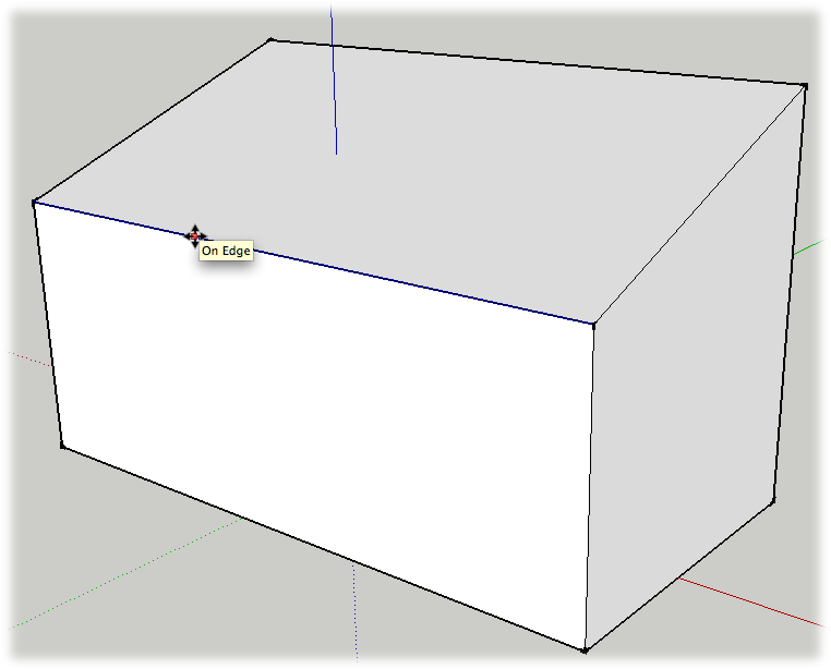 This box has a sloped roof. Using the Move tool and inference locking, you can even the sides.