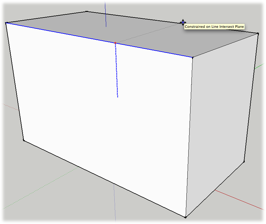 You can use the Shift-key inference locking technique with many of SketchUp's tools. Here the Move tool is moving a top edge while it's locked into the blue axis. The opposite face of the box is referenced to create walls (faces) of equal height.