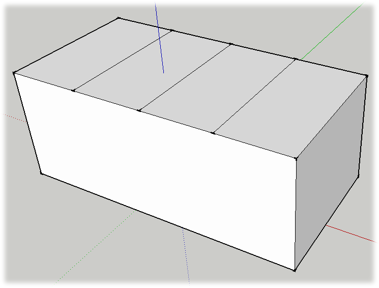 The top of this box was divided into four parts. First, it was divided in half by drawing a line from midpoint to midpoint. Then each new section was divided in the same manner, from midpoint to midpoint.