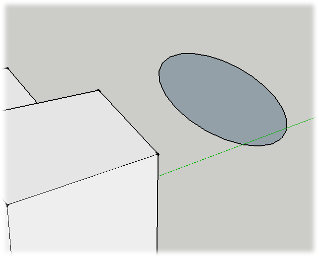 You can use inference locking with the shape tools, like Circle (C), Polygon (P), and Rectangle (R). Hover over a surface to reference the orientation; then press Shift and move to a new position in the drawing area. Still holding Shift, draw your new shape.
