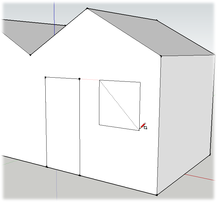 Hover over the top corner of the doorway, and then slowly move the Rectangle tool horizontally. An inference line helps you to draw the window at the same height as the door.