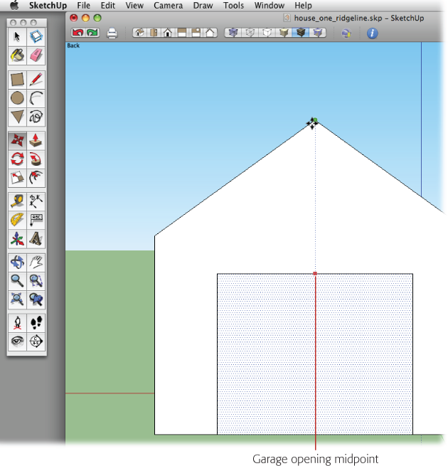 By using the Move (M) tool and an inference line, you can align elements like this garage door to other parts of your model, like the peak of the roof.