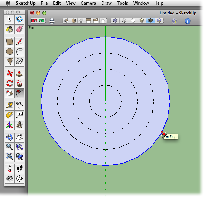 This 2-D design that looks like a target was created by drawing a 3-inch circle and then repeatedly creating a new edge using the Offset tool.