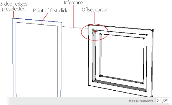 You can use inference locking with the Offset tool. Just hold the Shift key down, and then reference another point in your model. Here the dimensions of the window trim are used as a reference for creating the door trim.