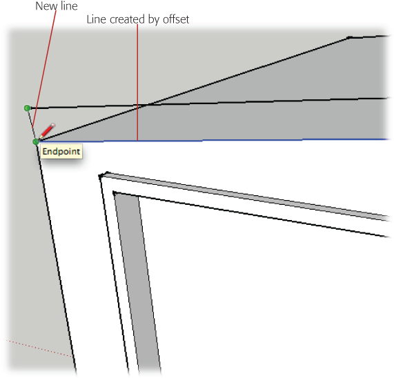 Draw a line on each end of the roof to connect the original edges with the new edges created by the Offset tool. Once the shape is enclosed, a new face appears between the edges.